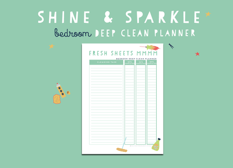 Shine & Sparkle Bedroom Deep Clean Planner