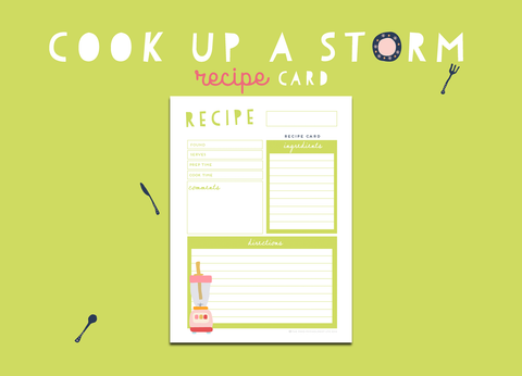 Cook Up A Storm Recipe Card (Lime)
