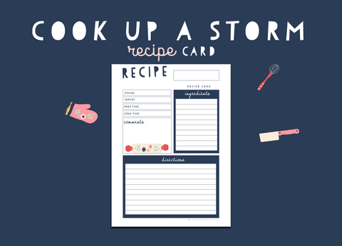 Cook Up A Storm Recipe Card (Navy)