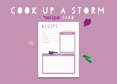 Cook Up A Storm Recipe Card (Lilac)