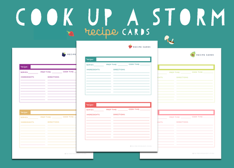 Cook Up A Storm Recipe Cards (Half Size)