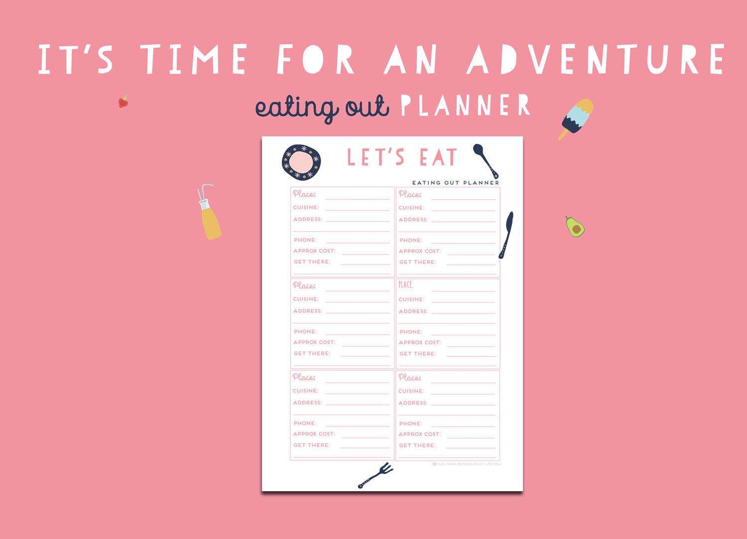 Time For An Adventure Eating Out Planner
