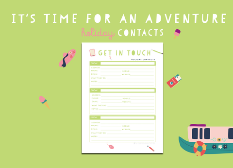 Time For An Adventure Holiday Contacts