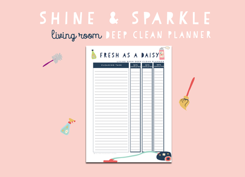 Shine & Sparkle Living Room Deep Clean Planner