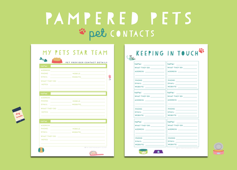 Pampered Pets Pet Contacts