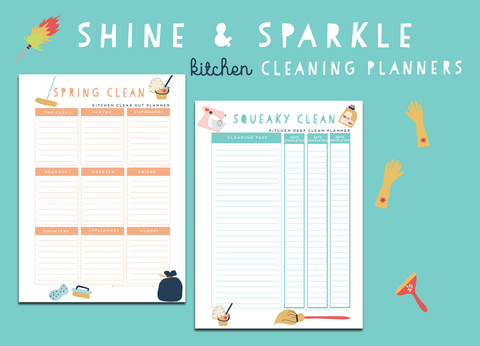 Shine & Sparkle Kitchen Cleaning Planners