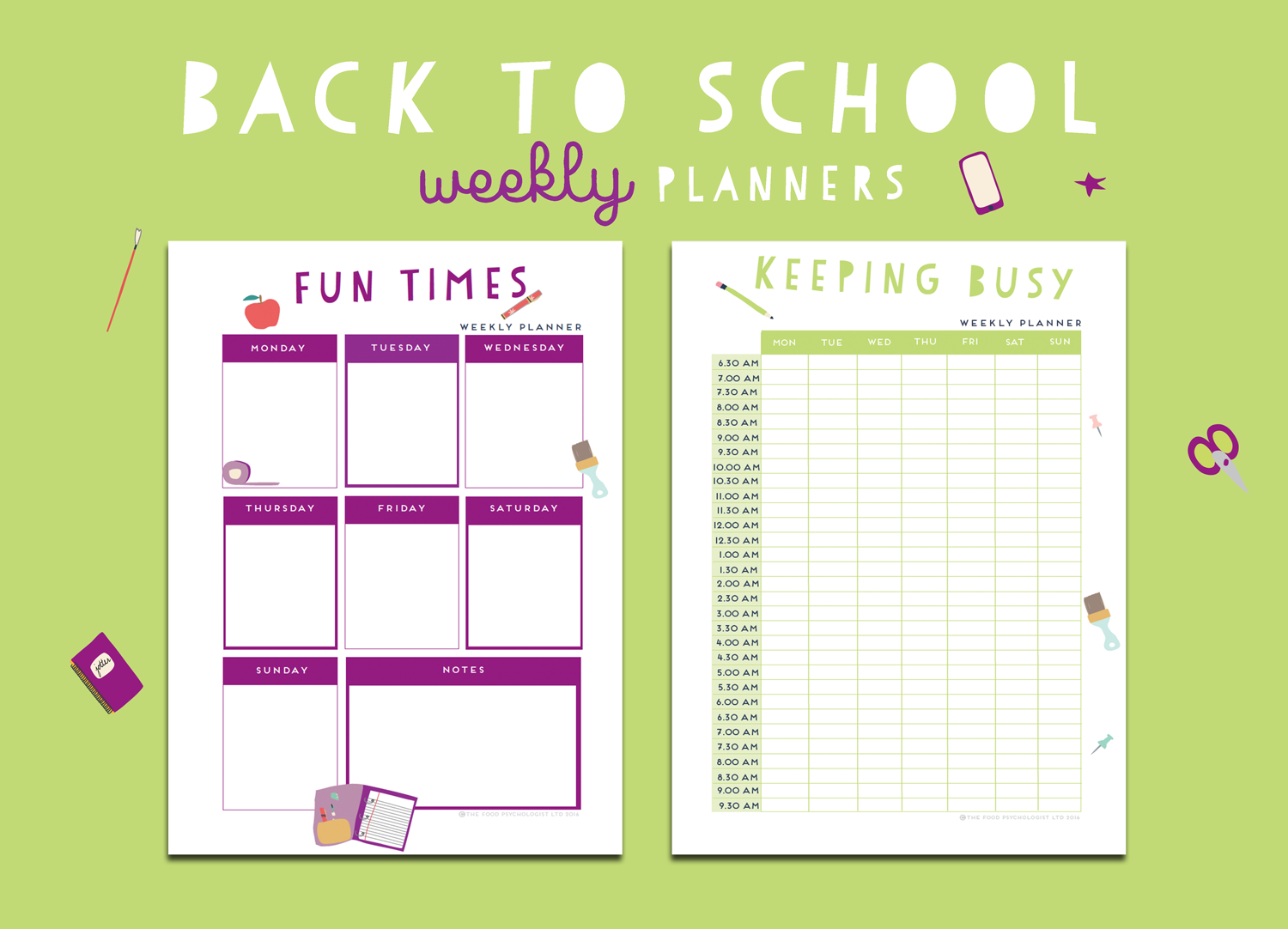 Back To School Weekly Planners