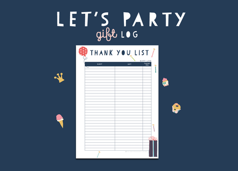 Let's Party Gift Log