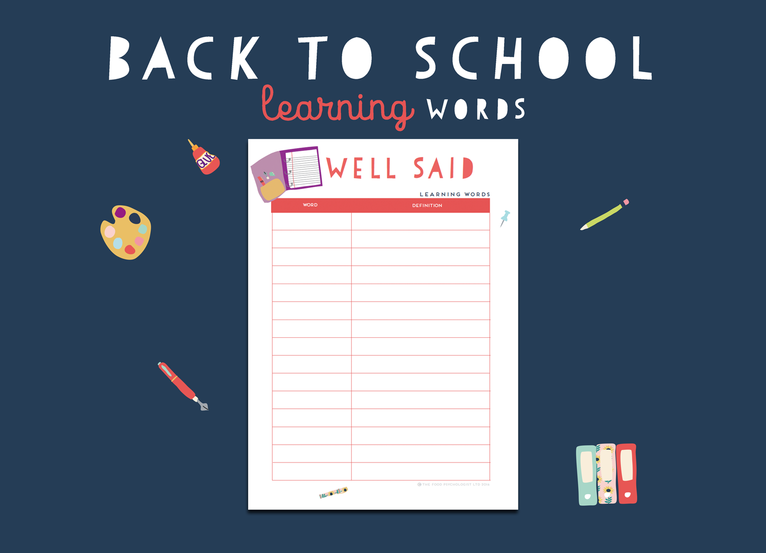 Back To School Learning Words