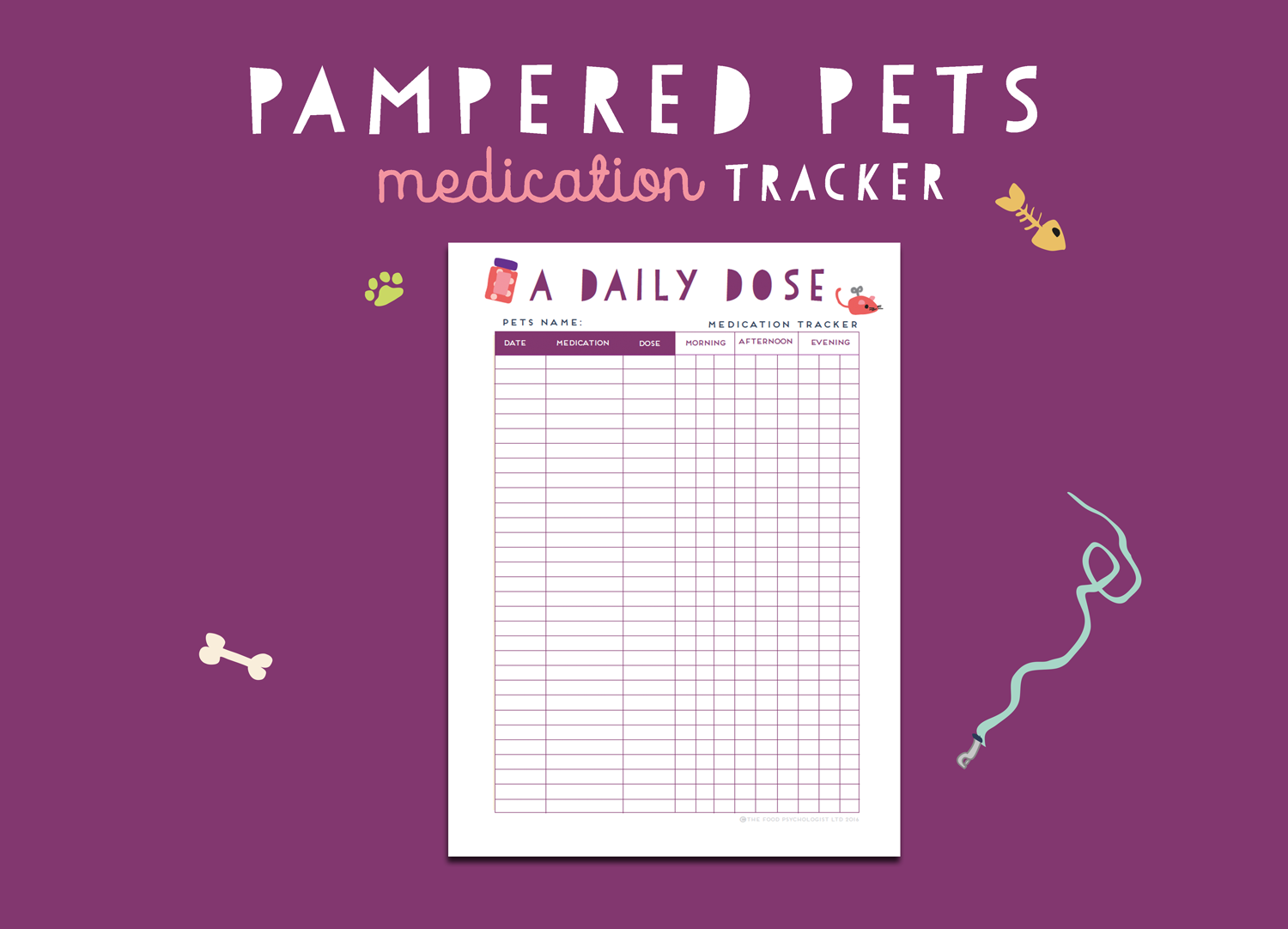 Pampered Pets Medication Tracker
