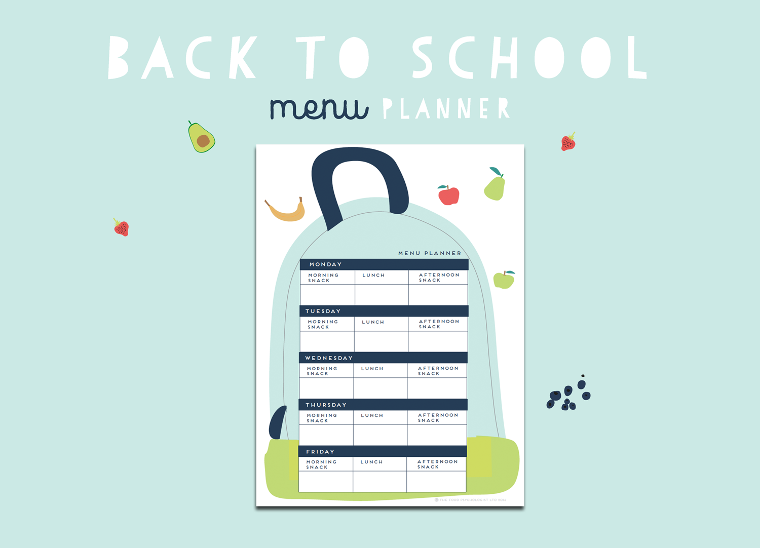 Back To School Menu Planner