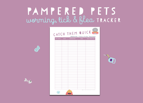 Pampered Pets Worming Tick & Flea Tracker