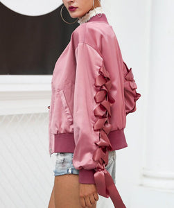 Satin Lace Bomber