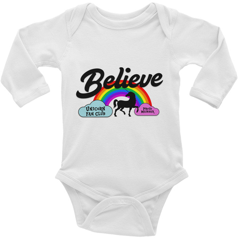 Unicorn Fan Club Membership #3 🦄 Baby Long Sleeve Onesie - Unicorn Fan Club
