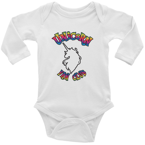 Unicorn Fan Club Membership #1 🦄 Baby Long Sleeve Onesie - Unicorn Fan Club