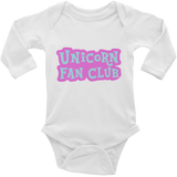 Unicorn Fan Club Membership #2 🦄 Baby Long Sleeve Onesie - Unicorn Fan Club