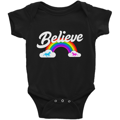 """Believe"" Rainbow  🦄 Baby short sleeve onesie (dark version) - Unicorn Fan Club"