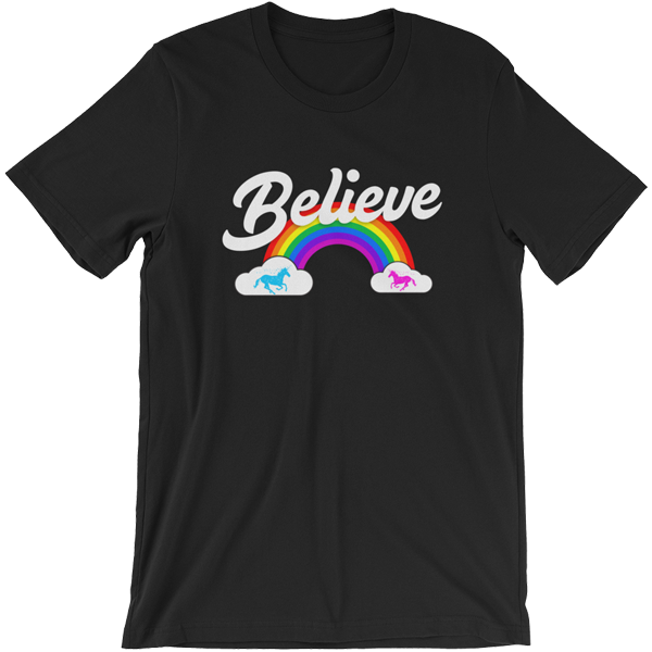 """Believe"" Rainbow t-shirt 🦄 Guys (dark version) - Unicorn Fan Club"