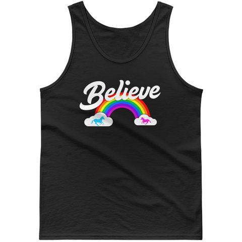 """Believe"" Rainbow tank top 🦄 Guys (dark version) - Unicorn Fan Club"