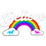 """Believe"" Rainbow  🦄 Baby long sleeve onesie (dark version) - Unicorn Fan Club"