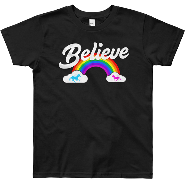 """Believe"" Rainbow t-shirt 🦄 Youth (dark version) - Unicorn Fan Club"