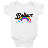 """Believe"" Rainbow  🦄 Baby short sleeve onesie (light version) - Unicorn Fan Club"