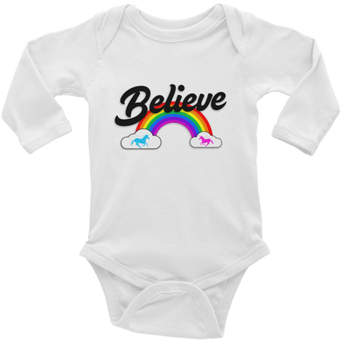 """Believe"" Rainbow  🦄 Baby long sleeve onesie (light version) - Unicorn Fan Club"