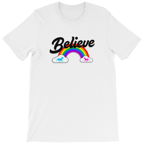 """Believe"" Rainbow t-shirt 🦄 Ladies (light version) - Unicorn Fan Club"