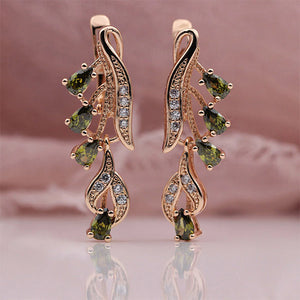 585 Rose Gold Zirconia Earrings - trinkets.pk