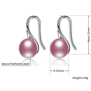 Sterling Silver Freshwater Pearl Earrings Purple - trinkets.pk