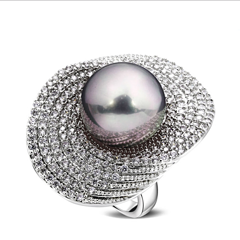 Fashion Simulated Pearl Ring Multi Color - trinkets.pk