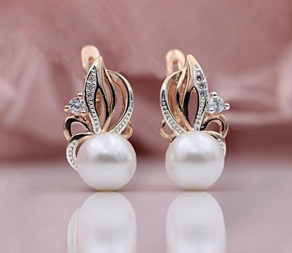 Flaming Freshwater Pearl Drop Earrings - trinkets.pk