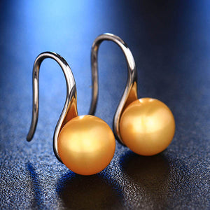 Sterling Silver Freshwater Pearl Earrings Golden - trinkets.pk