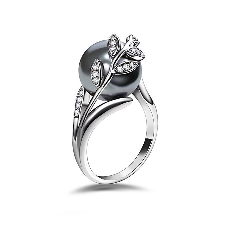 Rhodium Plated Grey Pearl Ring - trinkets.pk