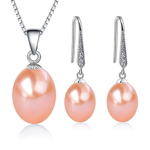 Sterling Silver Freshwater Pearl Jewelry Set Pink - trinkets.pk