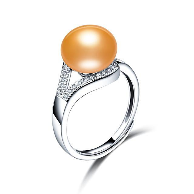Bright Gold-Luxury Freshwater Pearl Ring - trinkets.pk