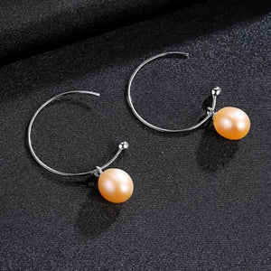 Half Hoop Freshwater Pearl Earrings - trinkets.pk