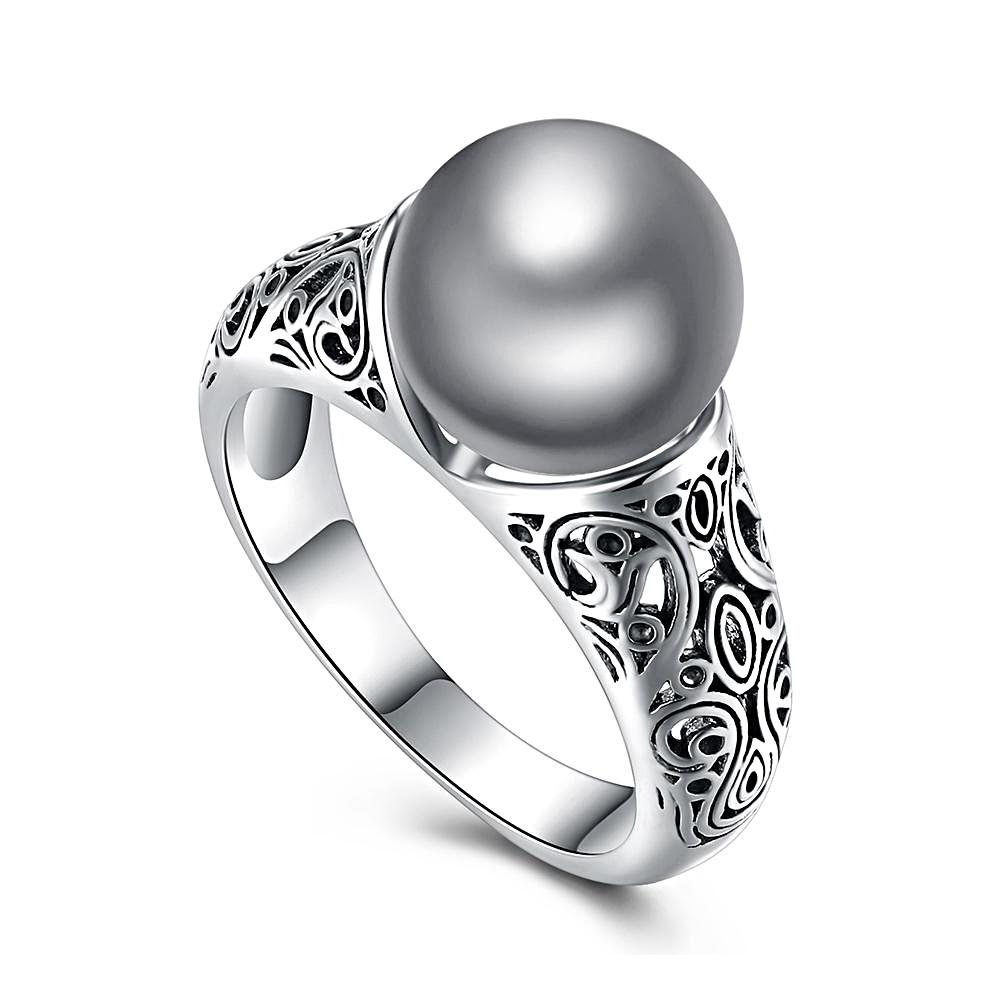 Pave Gray Pearl Ring Rhodium Plated - trinkets.pk
