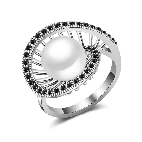 White Pearl Cocktail Ring - trinkets.pk