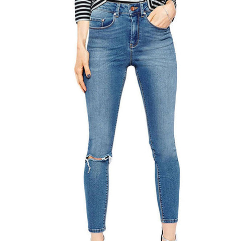 Classic High Waist Slit Knee Tight-fitting Jeans Light