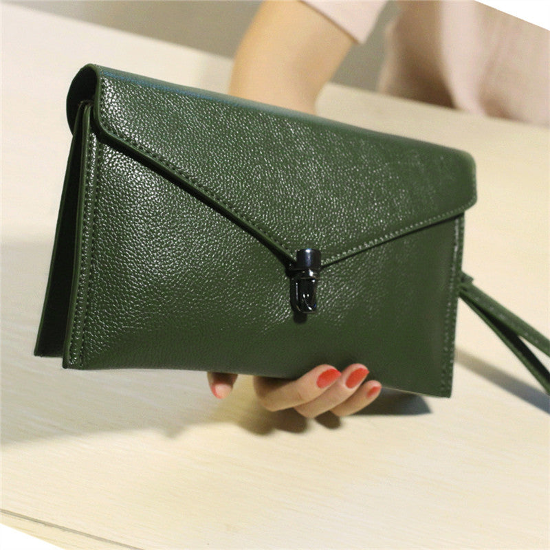 Clutch Crossbody Bag PU Leather Envelope Mini Shoulder Purse Black/Green