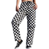 High Waist Checkered Straight Loose Sweat Pants