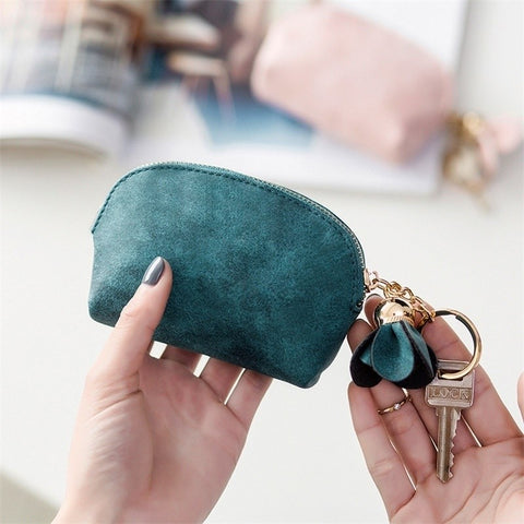 Leather Ladies Small Mini Wallet Card Key Holder Zip Coin Purse