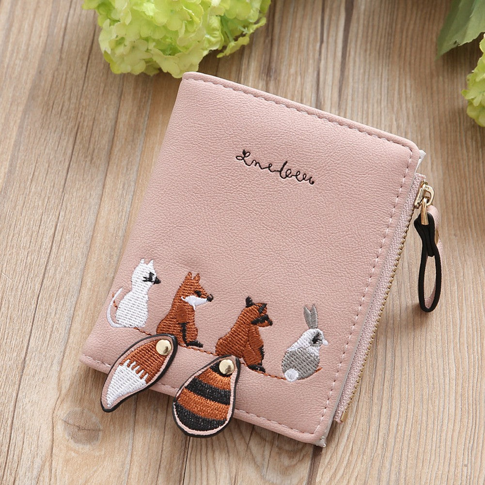 PU Leather Wallet Animal Embroidery Cute Card Cash Holder Girls Zipper Coin Purse