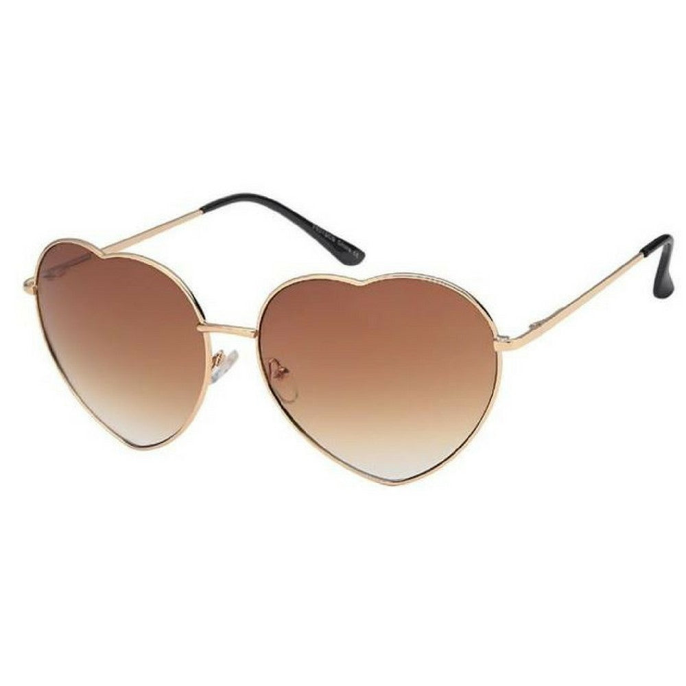 Brown Heart Frame Sunglasses