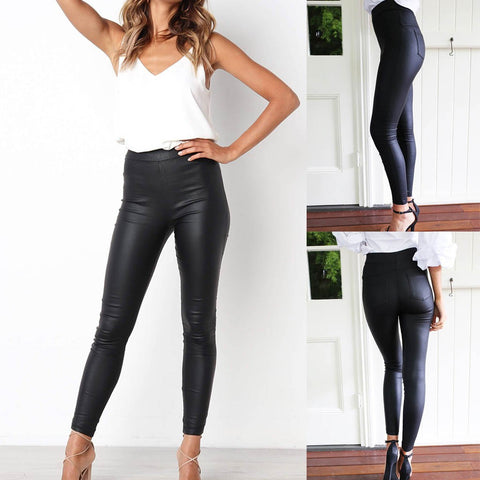 Casual Pockets Slim Fit Pants Leather pants Long Pants