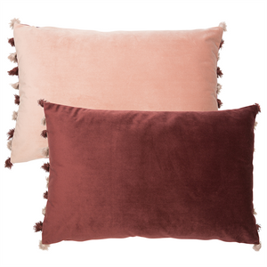 Blush Pink/Aubergine velvet feel cushion