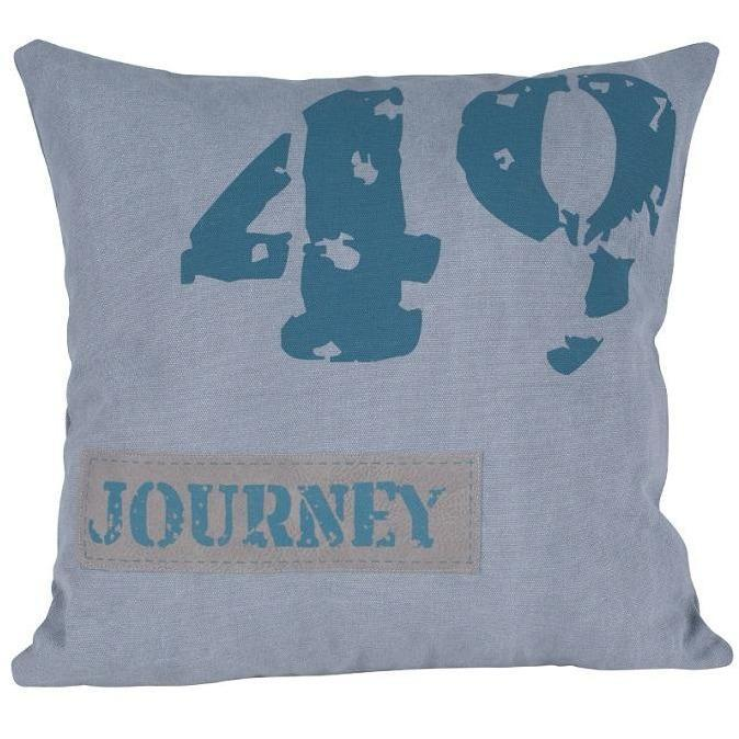 Grey & Navy Fabric Square Scatter Cushion - Perfectly Home Interiors