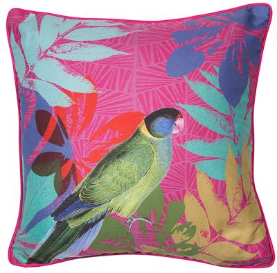 Brightly coloured tropical Parrot feature cushion