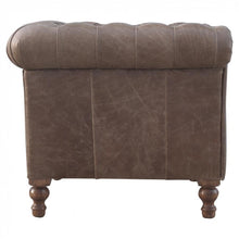 Uplholstered Buffalo Hide Leather Arm Chair - Perfectly Home Interiors